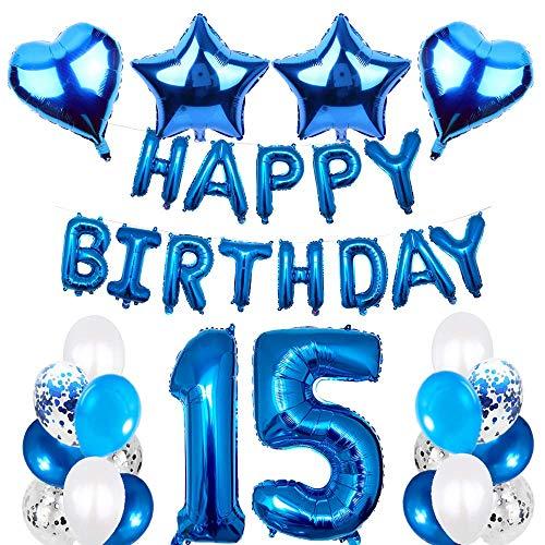 SNOWZAN 15.geburtstags deko junge Geburtstagsdeko Blau Jungen folienballon buchstaben blau geburtstag luftballon Blau Ballon Geburtstag Blau Happy Birthday Girlande Geburtstag Deko für Mädchen Jungen