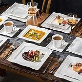 MALACASA, Serie Mario, 60 TLG. Cremeweiß Porzellan Geschirrset Kombiservice Tafelservice mit je 12 Kaffeetassen, 12 Untertassen, 12 Dessertteller, 12 Suppenteller und 12 Speiseteller - 8