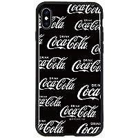 iPhoneXS Max ケース [デザイン:15.ロゴパターン(黒)/ブラックフレーム] coca cola コカ コーラ グッズ 背面強化ガラス ハイブリット スマホカバー 9H TPU 耐衝撃 iPhone XS MAX アイフォンxsmax
