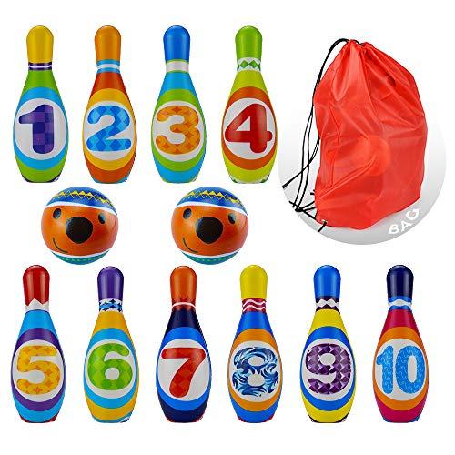 Finehaus Kinder Bowling Set, Kegelspiel Spiel, Drinnen draußen Spielzeug für Kinder 3 4 5+ Jahre, 10 Stifte 2 Kugeln Mit Einer Aufbewahrungstasche