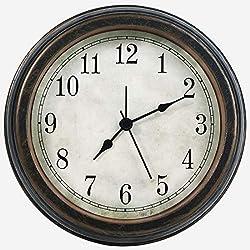 6.2 inch Vintage/Retro Analog Alarm Clock/Small Wall Clock/Decorative Desk Clock,Silent Battery Operated Non Ticking Quality Quartz Clock for Desk/Bedside/Bedroom/Kitchen/Living Room/Bathroom,Bronze