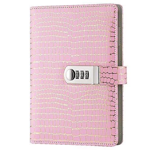 Diario di Viaggio ,Vintage PU Pelle Diario Taccuino Daily Diario Segreto Taccuino con Password Combinazione Bloccare per uomini e donne TPN095 Pink