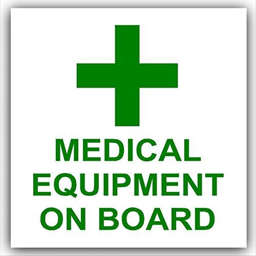 1 x Medische apparatuur op bord-groen op wit, externe zelfklevende stickers-medische, gezondheids- en veiligheidssignalen, alarm, waarschuwing, opmerking, consument, individueel, auto, bus, taxi, Minicab