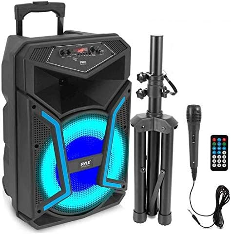 Pyle System 800W Outdoor Bluetooth Speaker Portable PA System w Microphone in Party Lights MP3 product image