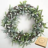 Luell Handmade Artificial Wreath with Green Leaves and White Beans - 14 inches for Front Door Home Decor Year Round
