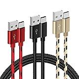 G-Color USB Typ C Kabel, [3Stück, 2m] Datenkabel, Schnellladekabel, [DREI Farbe: Schwarz, Rot, Gold] Nylon Typ C Kabelgeeignet für Android Smartphones