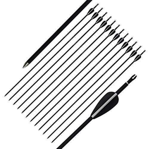 GSERA 12 Stück 32 Zoll Bogenschießen Carbon Arrow mit 1,7 '' Befiederung Federschaufeln für Recurve Bogen Compound Bow Ziel Übung Outdoor-Geschenk