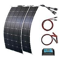 フレキシソーラーパネルモジュール屋外実用ソーラー充電装置ソーラーパワーシステム(ブラック (200Wソーラーパネルシステム)