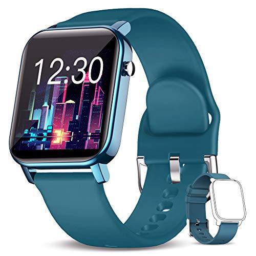 KOSPET Reloj inteligente | Rastreador de fitness con 31 modos deportivos, oxígeno en sangre, monitor de frecuencia cardíaca y sueño, monitor de actividad, IP68 resistente al agua [azul]