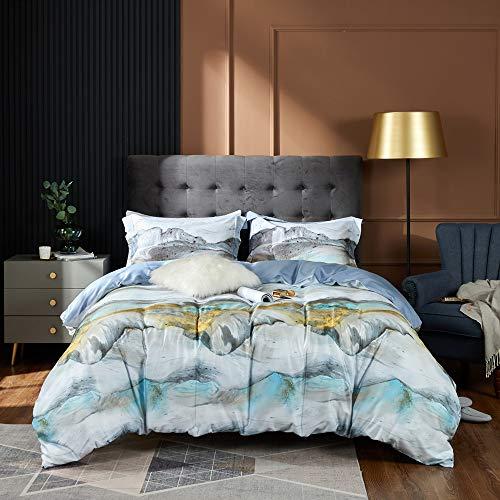 MILDLY Queen Comforter Set Blue Watercolor Cover Set with Zipper Closure & Closure Corner Corner (No Comforter)