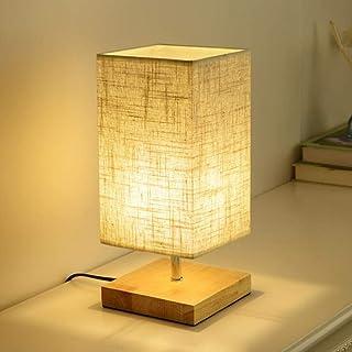 Mengjay Lámpara de mesa de noche E27 Lámpara de mesa moderna - Rectángulo Lámpara de luz nocturna con pantalla de tela Lámpara de mesita de noche con base de madera para sala de estar (Rectángulo)