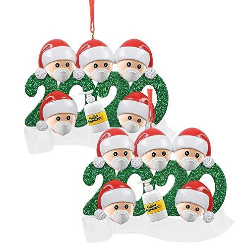 Ldiawnshi Adornos de Navidad 2020, Adorno de Navidad personalizado de la familia de sobrevivientes con cara Маsк Muñeco de nieve Árbol de Navidad Colgante colgante Decoración de Navidad para la famili