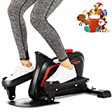ANCHEER Mini Elliptical Machine Trainer, Various Adjustable Resistance Compact Strider with Built-in Display Monitor & Magnetic Smooth Quiet Driven for Home Office Cardio Training (Dull Black)