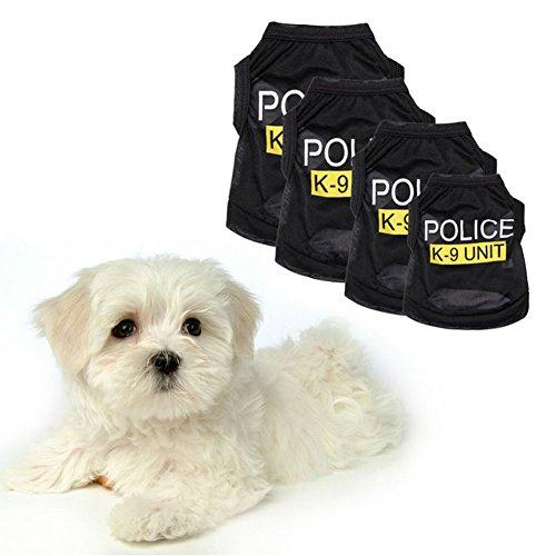 BulzEU Polizeiweste für Hunde und Welpen, T-Shirt, Polizei, Justizität, Agent Cosplay, Party, Kostüm, K-9, Polizei, Halloween, Weihnachten