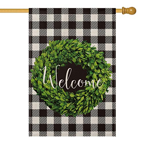 AVOIN Fall Boxwood Wreath Welcome House Flag Vertical Double Sided, Buffalo Check Plaid Rustic Farmhouse Flag Yard Outdoor Decoration 28 x 40 Inch Georgia