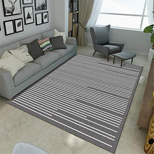 La alfombras Antideslizante Lavable Sofá Alfombra Alfombra de mesa de centro de sala de estar de diseño de línea de graffiti minimalista blanco gris Resistente a la decoloración Alfombra 100*160cm