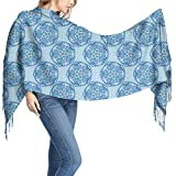 Scarf Wrap Flora Pattern Indian Colorful Blue Soft Blanket