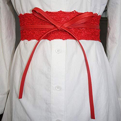 TINGS Elastic Lace Black Gürtel für Frauen GürtelKostüme Jeans Gürtel Weibliche Brautkleid Bund, Rot