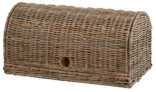 Brot-Korb mit Haube aus natürlichem Rattan / Gebäck-Kasten auf stabilem Eisenrahmen (unbehandelt Grau)