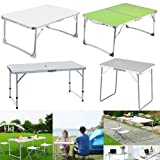 Folding Table 4ft Portable Adjustable Height Fold-in-Half Utility Table Trestle Table Camping Table Indoor and Outdoor Picnic Party Dining Camp Barbecue Table with Handle