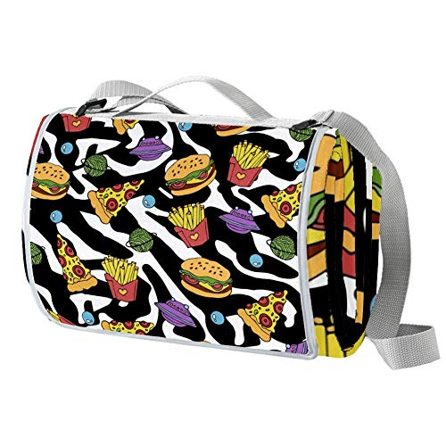 TIZORAX Picknickdecke für Pizza, Hamburger und Pommes Frites, wasserdicht, faltbar, für den Strand, Camping, Wandern