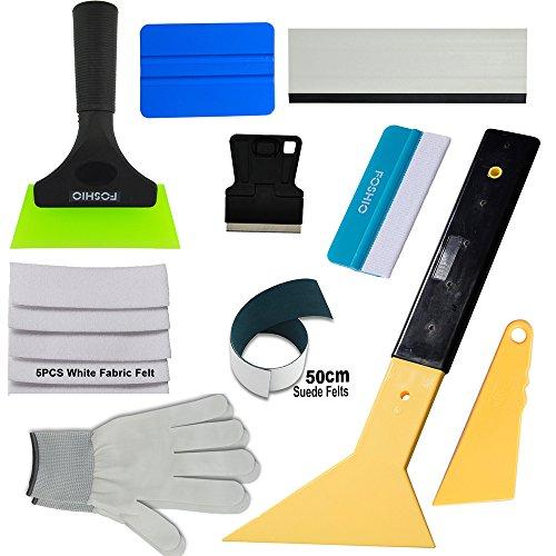 FOSHIO Profi Komplett Werkzeuge Set zu Fensterfolie Anbringen mit Fensterwischer, Rakeln, Selbstklebende Filz, Schaber und Handschuhe