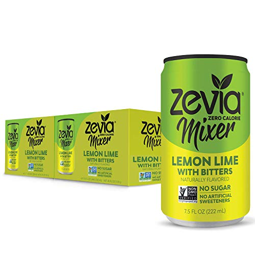 Zevia Lemon Lime With Bitters, 7.5 Oz Can (12 Count) Zero Calorie or Sugar, Naturally Sweetened With Stevia Leaf Extract, a Perfect Drink Mixer