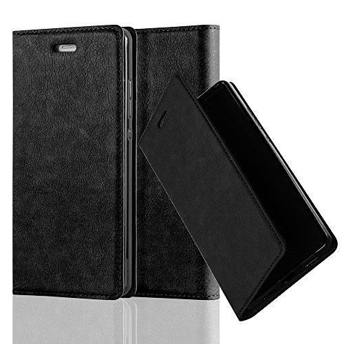 Cadorabo Custodia Libro per Huawei P8 LITE 2015 in NERO DI NOTTE - con Vani di Carte, Funzione Stand e Chiusura Magnetica - Portafoglio Cover Case Wallet Book Etui Protezione