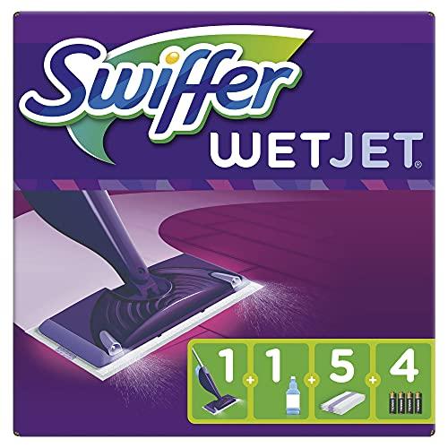 Swiffer WetJet Balai Lave Sol avec Spray, Kit de Démarrage avec 1 Balai Spray, 5 Lingettes, 1 Solution Nettoyante Liquide Et 4 Piles