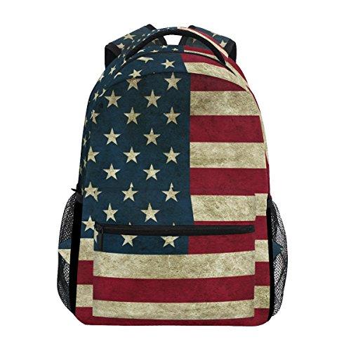 TIZORAX Zaino vintage con bandiera americana zaino per la scuola Bookbag escursionismo viaggio