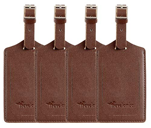 4 Pack Leather Luggage Travel Bag Tags by Travelambo Brown