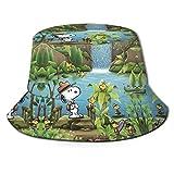 Snoopy Travel Bucket Sun Hat para Hombres Mujeres -Protection Packable Summer Fisherman Cap para Pesca, Safari, Paseos en Bote en la Playa Negro