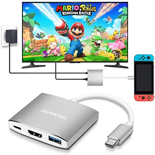 USB C to HDMI Hub Dock for Nintendo Switch, JAVONTEC USB Type C HDMI Adapter Converter with 4K HDMI, USB 3.0, Power Delivery Compatible with MacBook Pro, HP Spectre, Samsung S8/S9, Silver