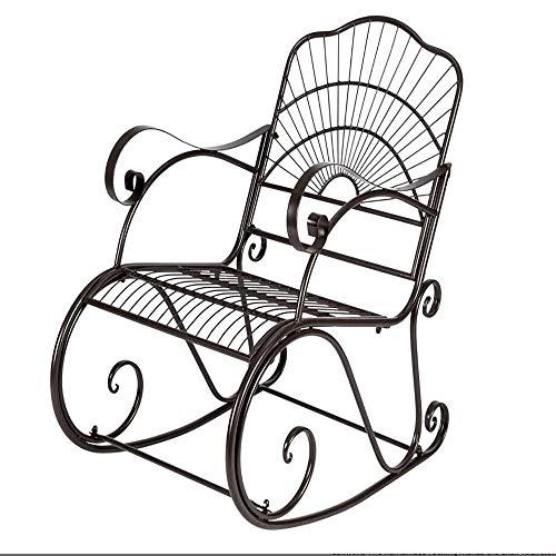 Iron Art - Sedia a dondolo, da giardino, reclinabile, a forma di sole, con schienale alto, comoda sedia per il relax e il tempo libero