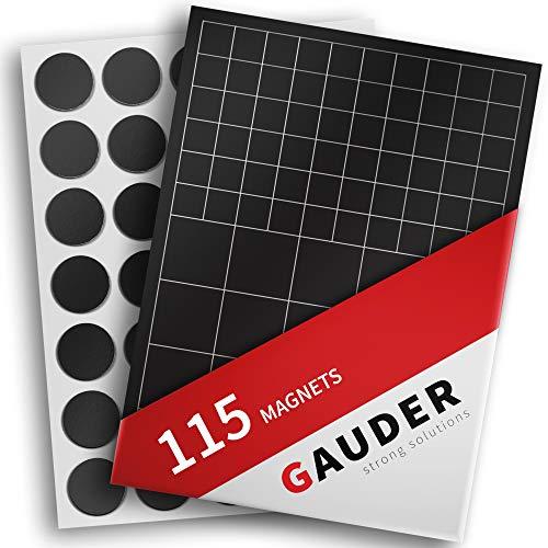 GAUDER Magnetplättchen selbstklebend   Magnetstreifen   Magnetische Plättchen für Fotos, Postkarten & Schilder (145x Quadrate & Punkte)