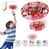 WeekSun UFO Drone Toys for Kids, Hand Operated Flying Drone for Kids Adult, USB Rechargeable, 360°Rotating and LED Lights