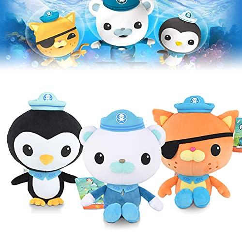 Octonauts Plüschspielzeug, Octonauts Software, Stofftier Plüschtier Cartoon Peso Puppe Kinder Spielzeug Geschenk (3 Stück, 20 cm)