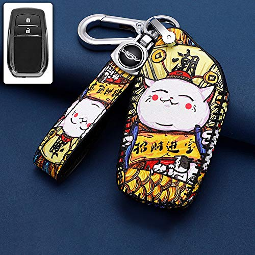 ontto Funda para llave de coche compatible con Toyota Camry Riez Fortuner RAV4 Prodo Highlander mando a distancia de piel, 2 botones, gato feliz A