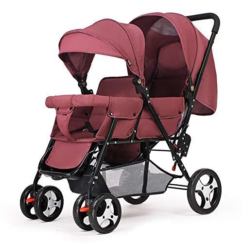 Poussetter Yhz@ Double jumeau Panier bébé Assis arrière et après Chariot de bébé Poids léger Chariot Enfant inclinable Version étendue Buggy (Couleur : Red)