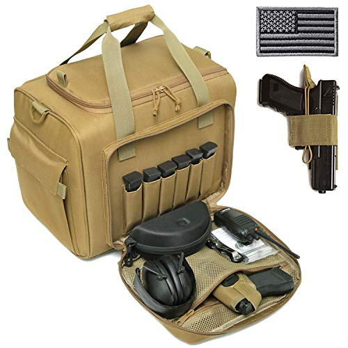 DBTAC Gun Range Bag Large | Tactical 4+ Pistol Shooting Range Duffle Bag for Handguns and Ammo with 2X Removable Hook & Loop Divider for DSLR | US Flag Patch + Universal Holster Included (Tan)