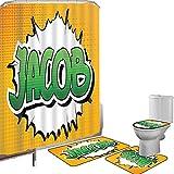 Juego de cortinas baño Accesorios baño alfombras Jacob Alfombrilla baño Alfombra contorno Cubierta del inodoro Nombre masculino personal en tonos verdes en el efecto Explosión Explosión,Marigold Green