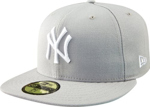 New Era - Casquette Fitted Homme New York Yankees 59Fifty Basic - Grey/White - Taille 7 1/2