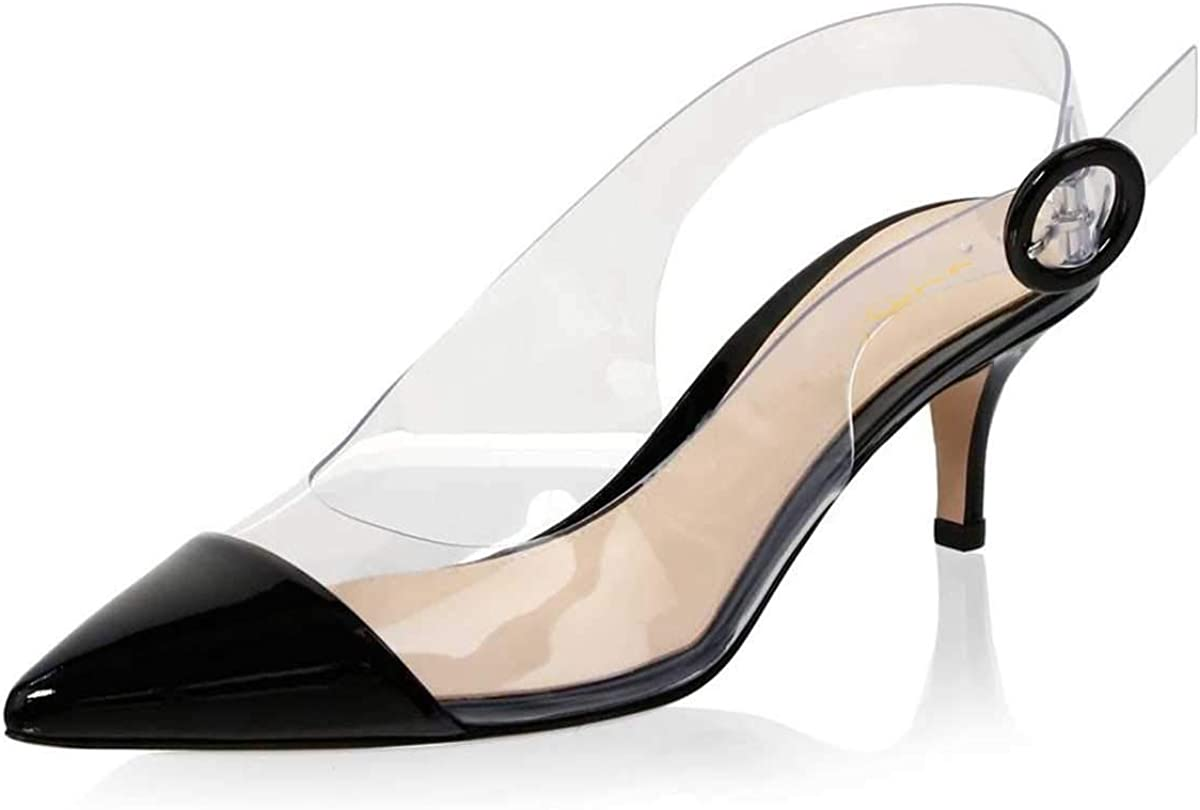 XYD Women Transparent Slingback Mid Kitten Heels Patent Leather Pumps Pointed Toe PVC Dress Sandals Shoes with Buckle