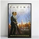 NFGGRF Perfume de una Mujer Al Pacino película clásica Pintura póster Impresiones Lienzo Cuadro de Pared para decoración de habitación del hogar-50x70cm sin Marco
