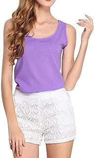 Ashtray - Women O-Neck Sleeveless Pure Color Vest Chiffon Tops T-Shirt Blouse,Size:XL,Colour:Navy (Color : Purple, Size : XXL)