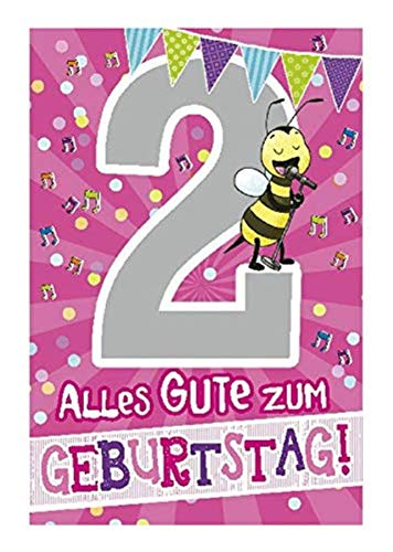 Depesche 5698.004 - Glückwunschkarte mit Musik, 2. Geburtstag, rosa