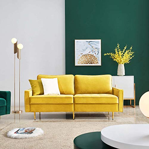 JULYFOX Yellow Velvet Fabric Sofa Couch, 71 inch Wide Mid Century Modern Living Room Couch 700lb Heavy Duty