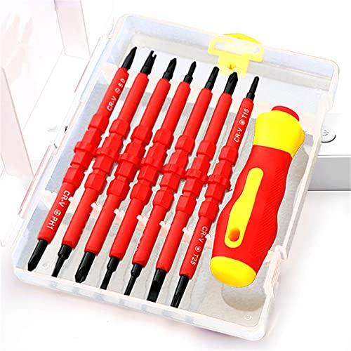 JINGGL Juego de Destornilladores 13 / PCS Destornillador Aislado Conjunto 1000V Kit de bits de destornillado Phillips Phillips con probador Pen Electricistas Herramientas de Mano (Color : 14Pcs)