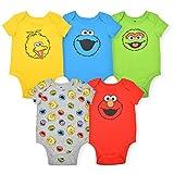 Sesame Street Boy's 5-Piece Short Sleeve Baby Bodysuit Onesie Multi-Colored Set, Size 3-6 Months