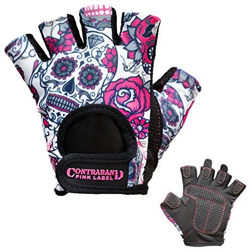 Contraband Pink Label 5237 Womens Design Series Sugar Skull Lifting Gloves (Pair) - Lightweight Vegan Medium Padded Microfiber Amara Leather w/Griplock Silicone (Pink, Medium)